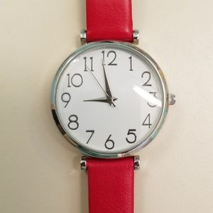 Watch w/ red band silver trim bundle and save